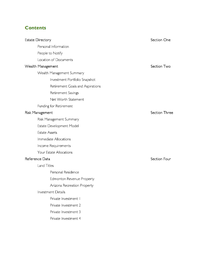 Financial Plan Table of Contents